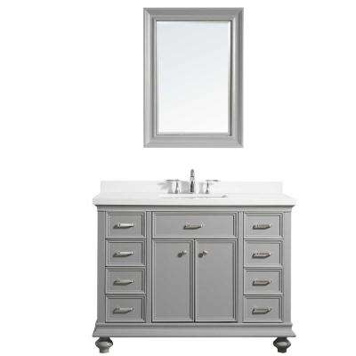 Charlotte 48 in. W x 22 in. D x 36 in. H Vanity in Grey with Quartz Vanity Top in White with White Basin and Mirror