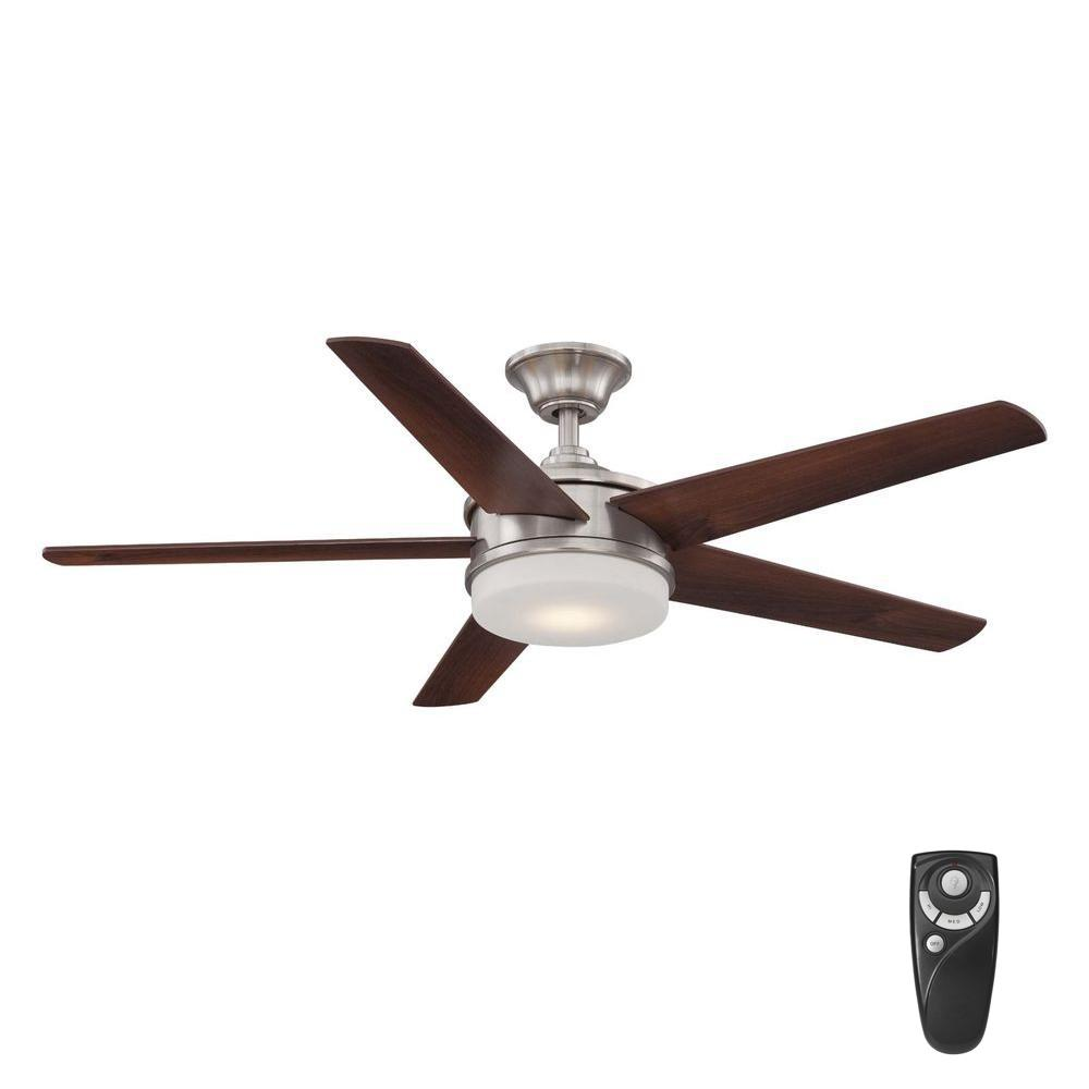 Home Decorators Collection Davrick 52 In Led Indoor Brushed Nickel Ceiling Fan With Light Kit