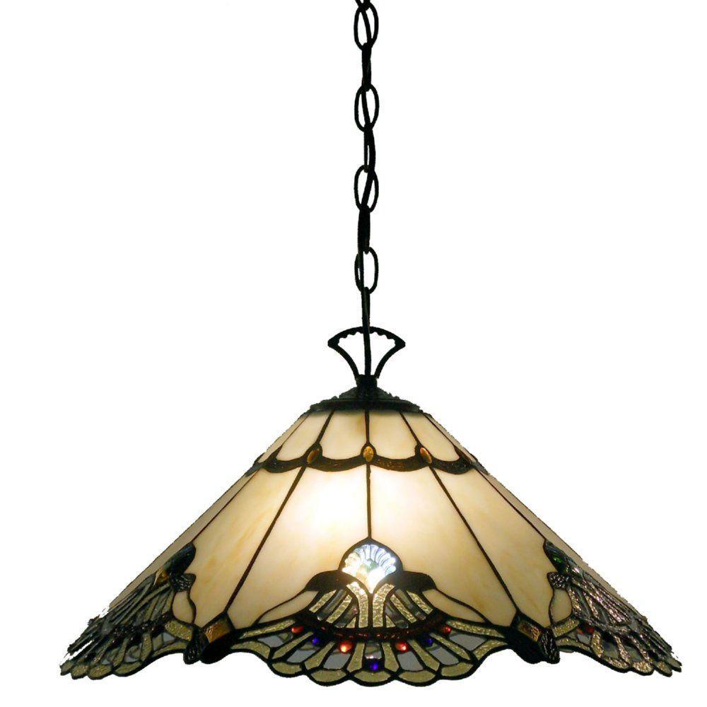 Warehouse of Tiffany Courtesan 2-Light Brown Hanging Lamp