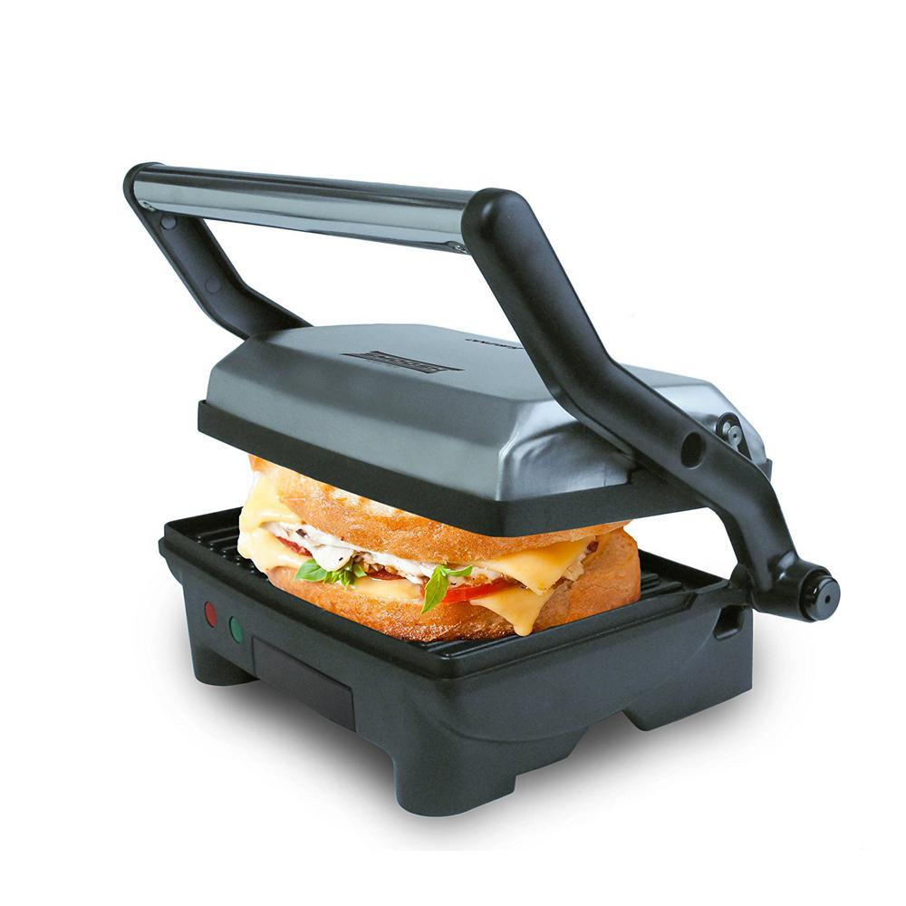 2-Serving Panini Press and Sandwich Griddler with Non-Stick Coated Plates and