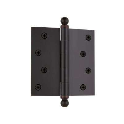 4 in. Ball Tip Residential Hinge with Square Corners in Timeless Bronze