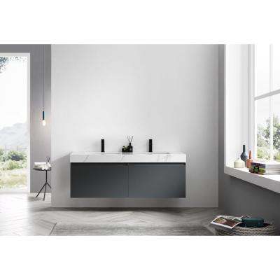 60 in. W x 20 in. D Vanity in Dark Gray with Quartz Vanity Top in White with White Basin