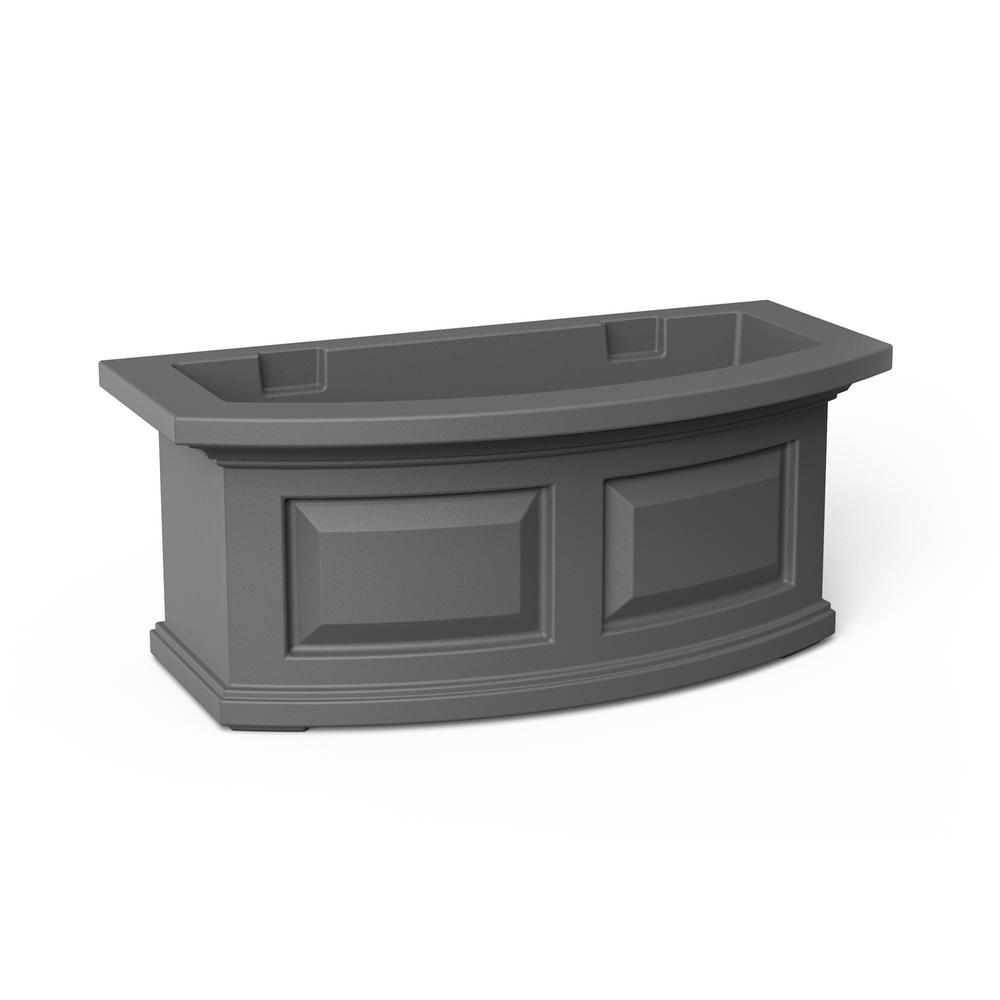 24 in. x 11.5 in. Graphite Grey Plastic Window Box