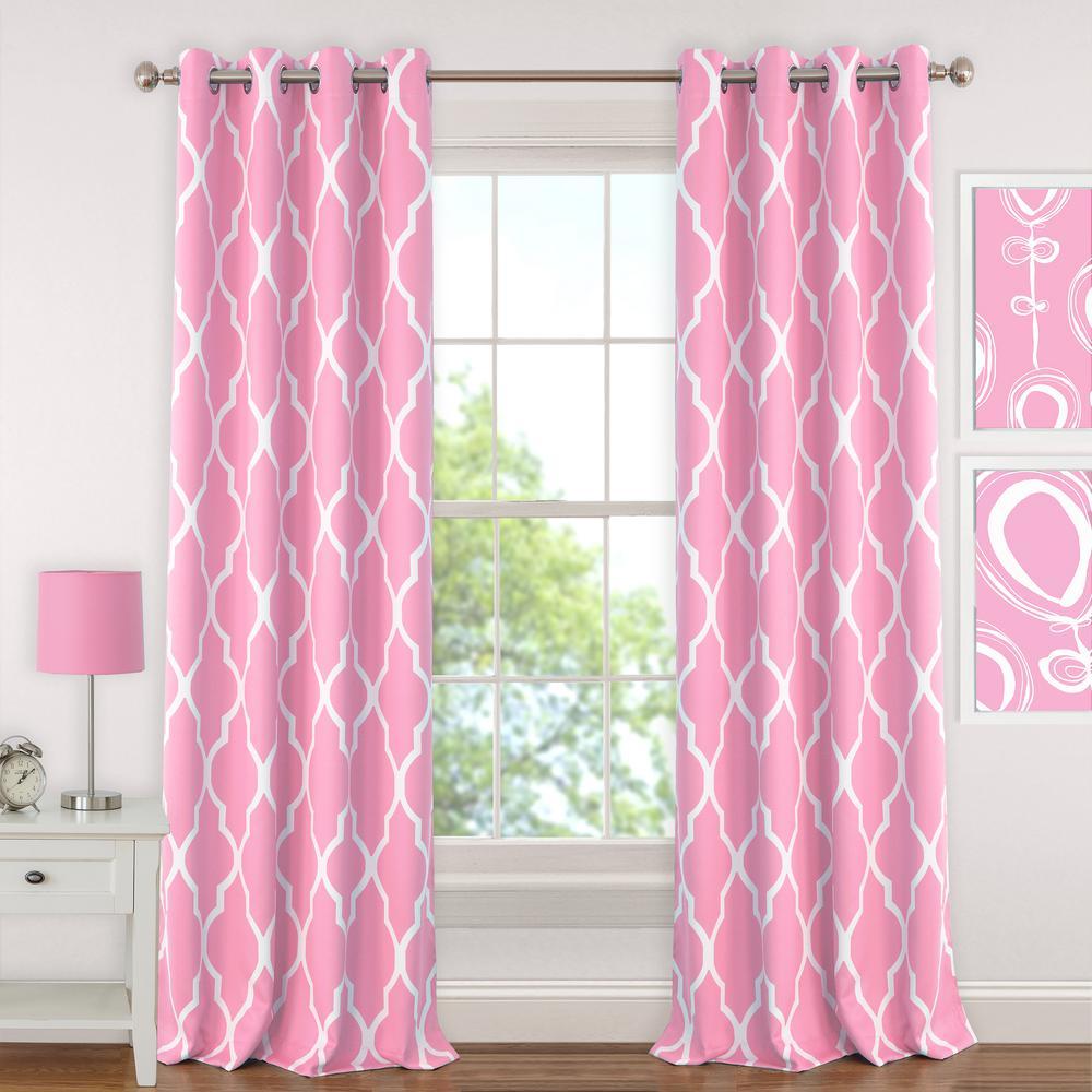 Blackout Emery 52in.Wx63in.L, Juvenile Teen or Tween BlackoutRoom Darkening Grommet Window CurtainDrape Panel Light Pink