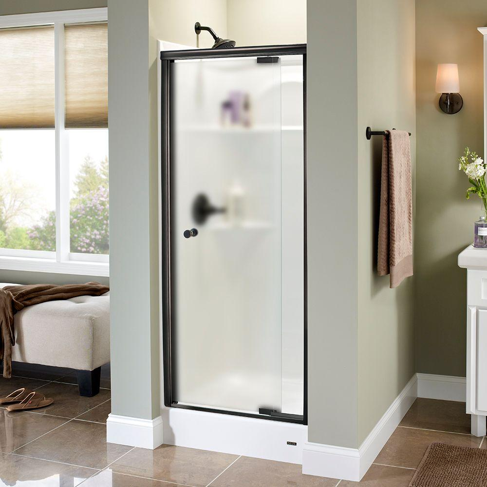 Delta Lyndall 31 in. x 66 in. Semi-Frameless Pivot Shower Door in Bronze with Niebla Glass