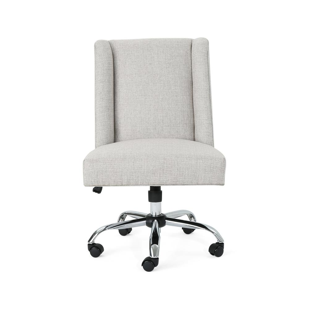 Noble House Hatherly Traditional Beige Fabric Adjustable Home Office Chair With Wheels 53368 The Home Depot