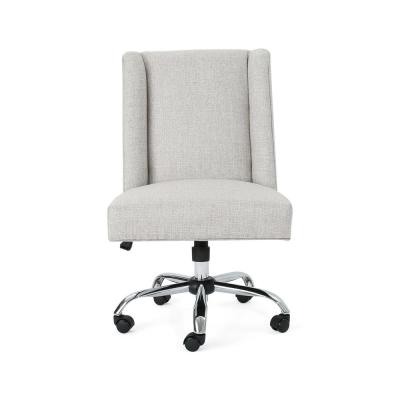 Hatherly Traditional Beige Fabric Adjustable Home Office Chair with Wheels