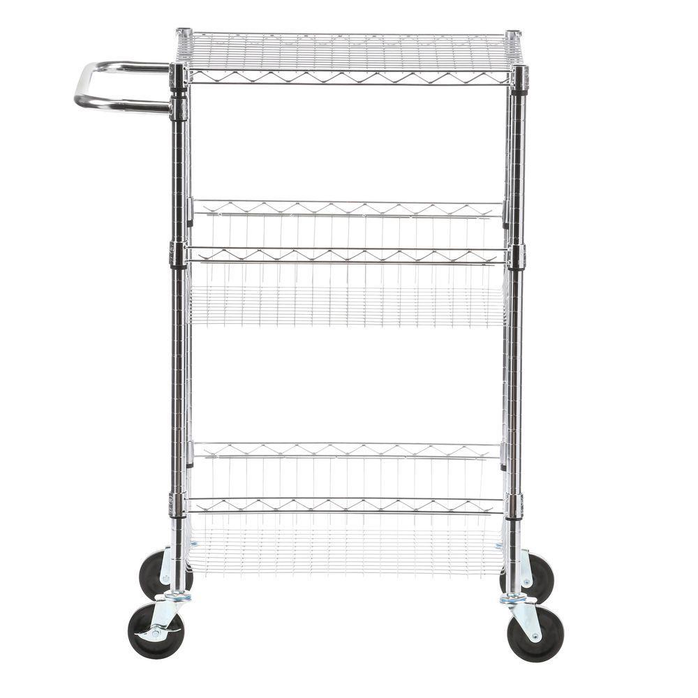 Commercial 30 in. W Steel Basket Kitchen Cart