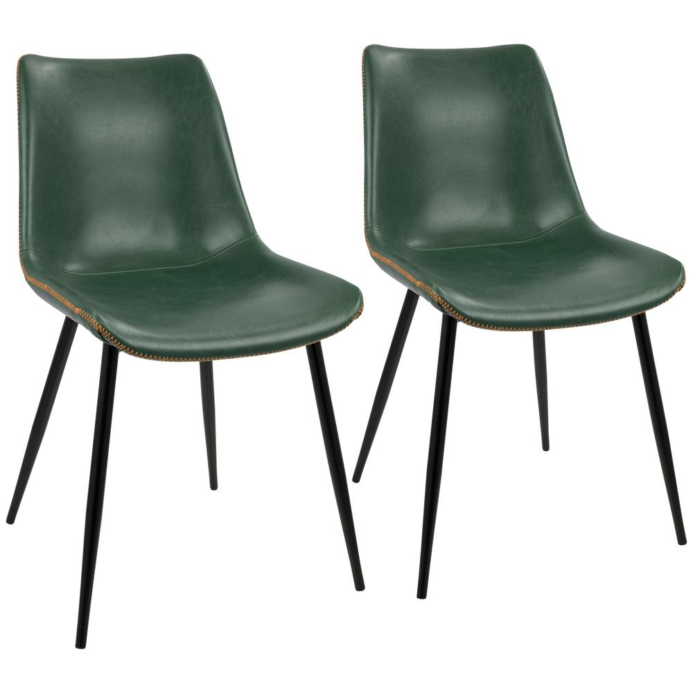 LumiSource Black And Green Durango Vintage Faux Leather Dining Chair (Set  Of 2)