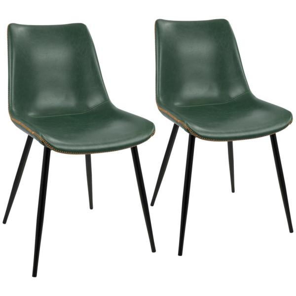 Charmant Black And Green Durango Vintage Faux Leather Dining Chair (Set Of 2)