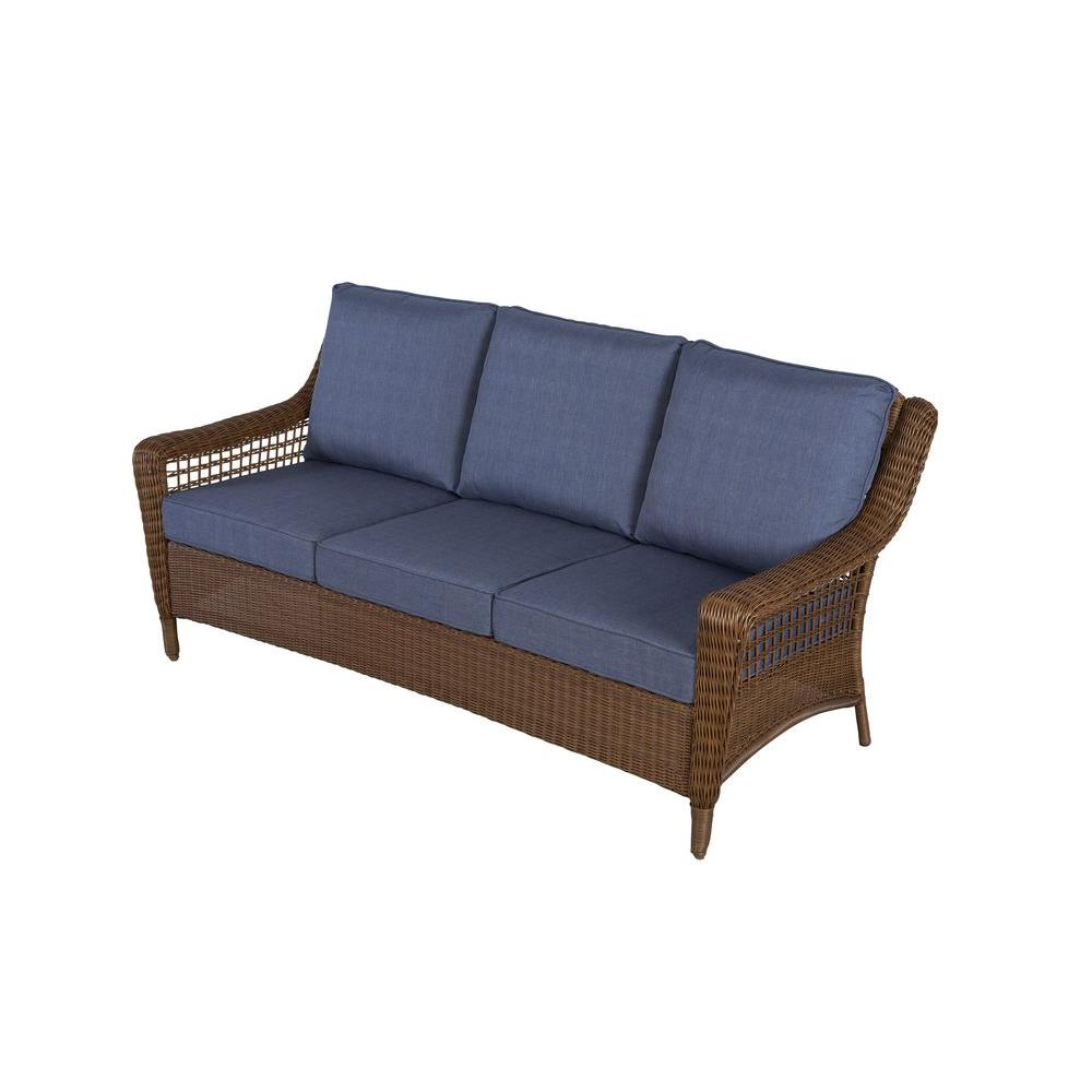 Hampton Bay Spring Haven Brown All Weather Wicker Outdoor Patio Sofa With Sky Blue Cushions