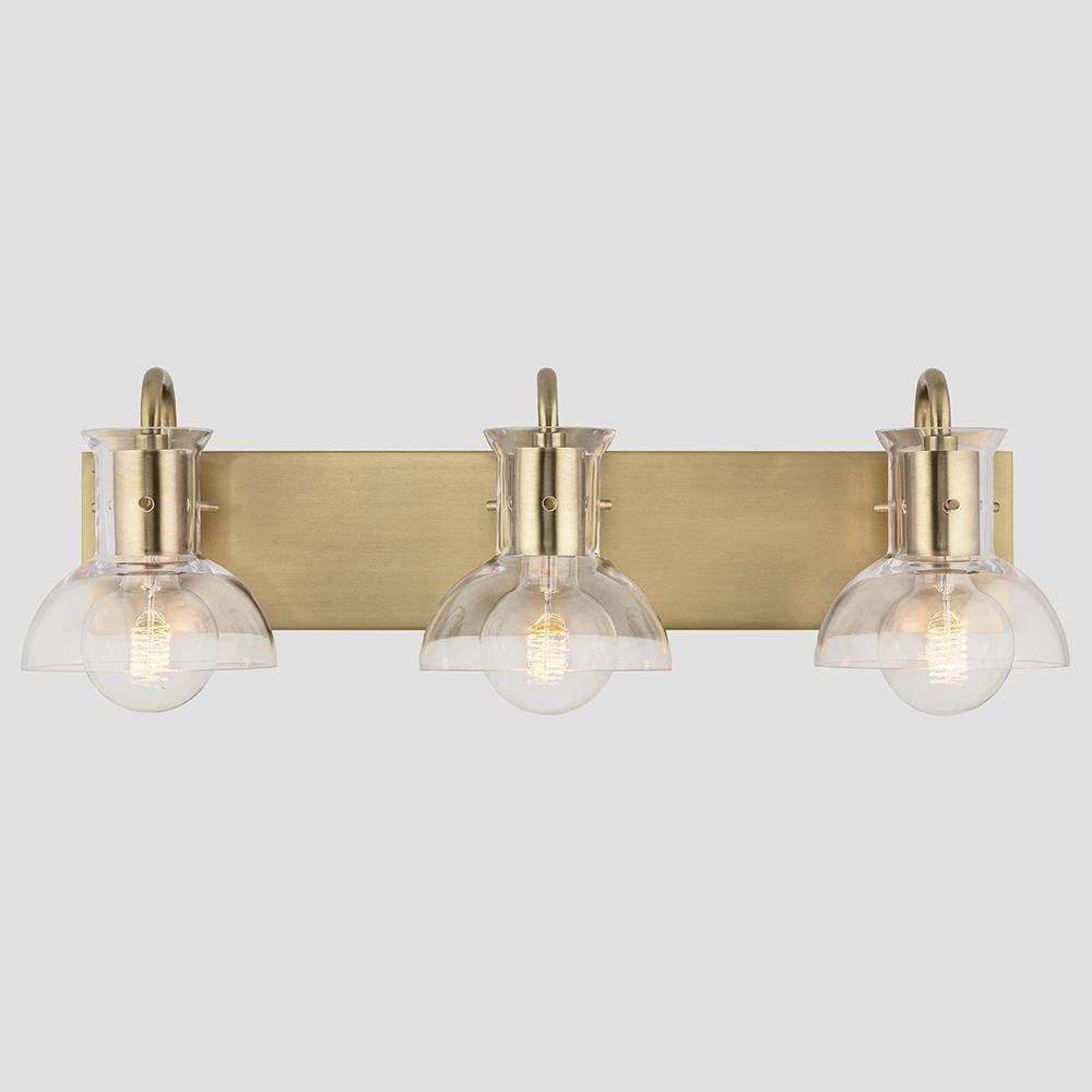 Finn 3-Light Aged Brass Bath Light with Clear Glass