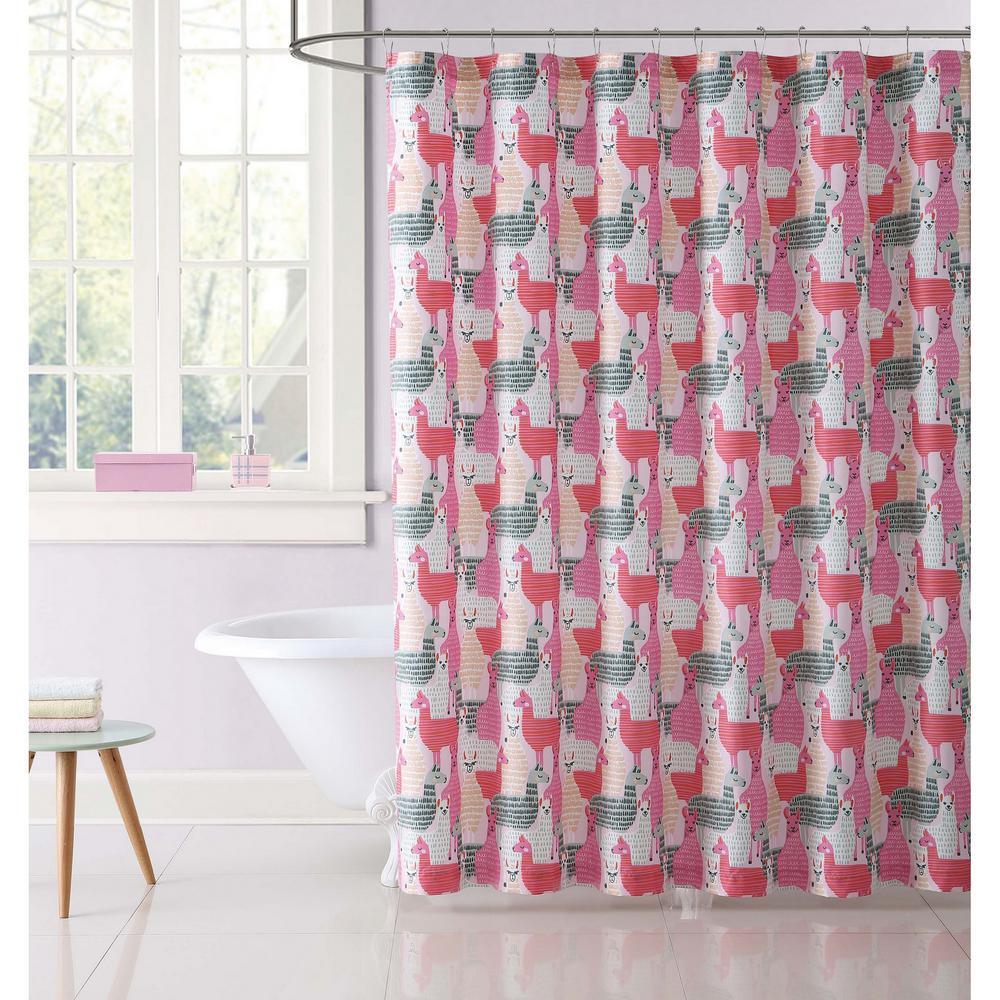 Llama Llama Printed 72 in. Pink and Grey Shower Curtain