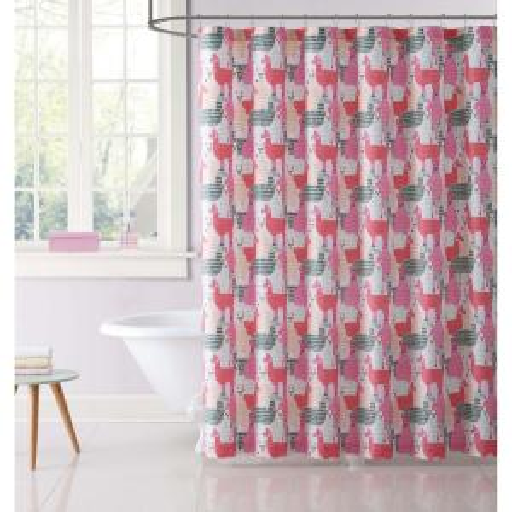 Llama Llama Printed 72 inch Pink and Grey Shower Curtain by