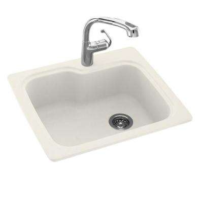Drop-In/Undermount Solid Surface 25 in. 1-Hole Single Bowl Kitchen Sink in Bisque