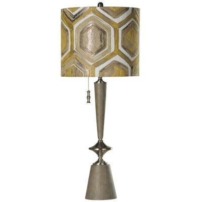 39 in. Gray Wood and Brushed Steel Table Lamp with Yellow Designer Pattern Hardback Fabric Shade