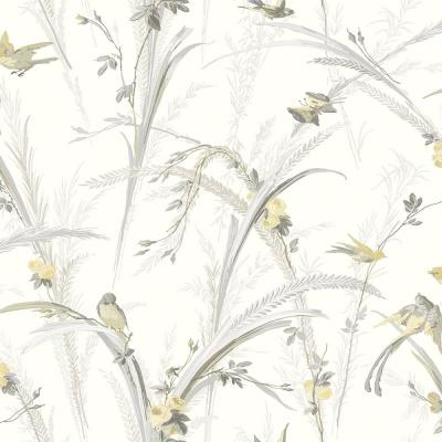 Meadowlark Yellow Botanical Yellow Paper Strippable Roll (Covers 56.4 sq. ft.)
