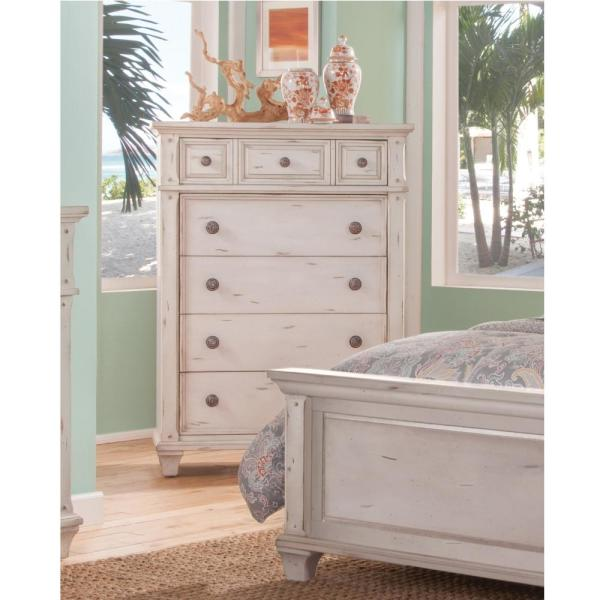 American Woodcrafters Sedona 5-Drawer Antique Cobblestone White Chest 2410-150