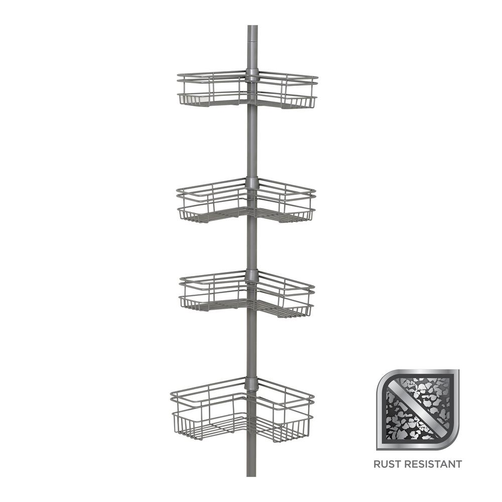 """L"" Style Tension Corner Pole Caddy in Satin Nickel with 4"