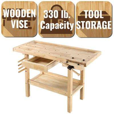 4 ft. x 2 ft. 330 lbs. Hardwood Workbench with Built-In Wooden Vise