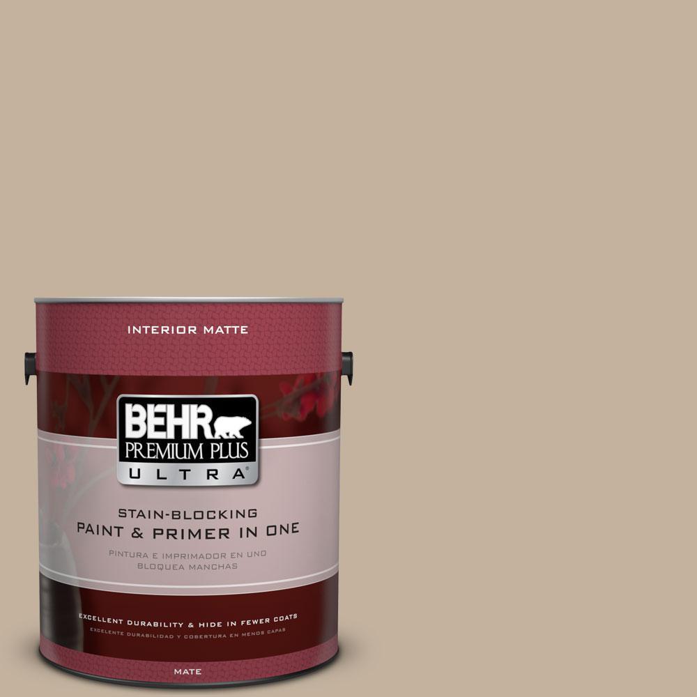 BEHR Premium Plus Ultra 1 gal. #BNC-03 Essential Brown Matte Interior Paint and Primer in One