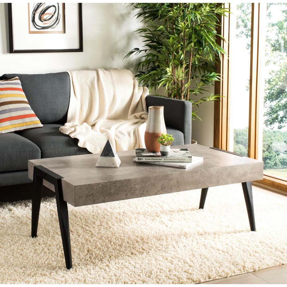 Amazing Safavieh Cameron Light Gray Black Coffee Table Cof7008A Lamtechconsult Wood Chair Design Ideas Lamtechconsultcom
