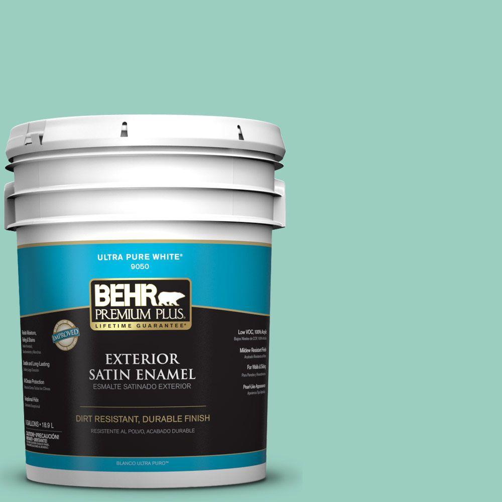 5-gal. #HDC-SM14-6 Thermal Aqua Satin Enamel Exterior Paint