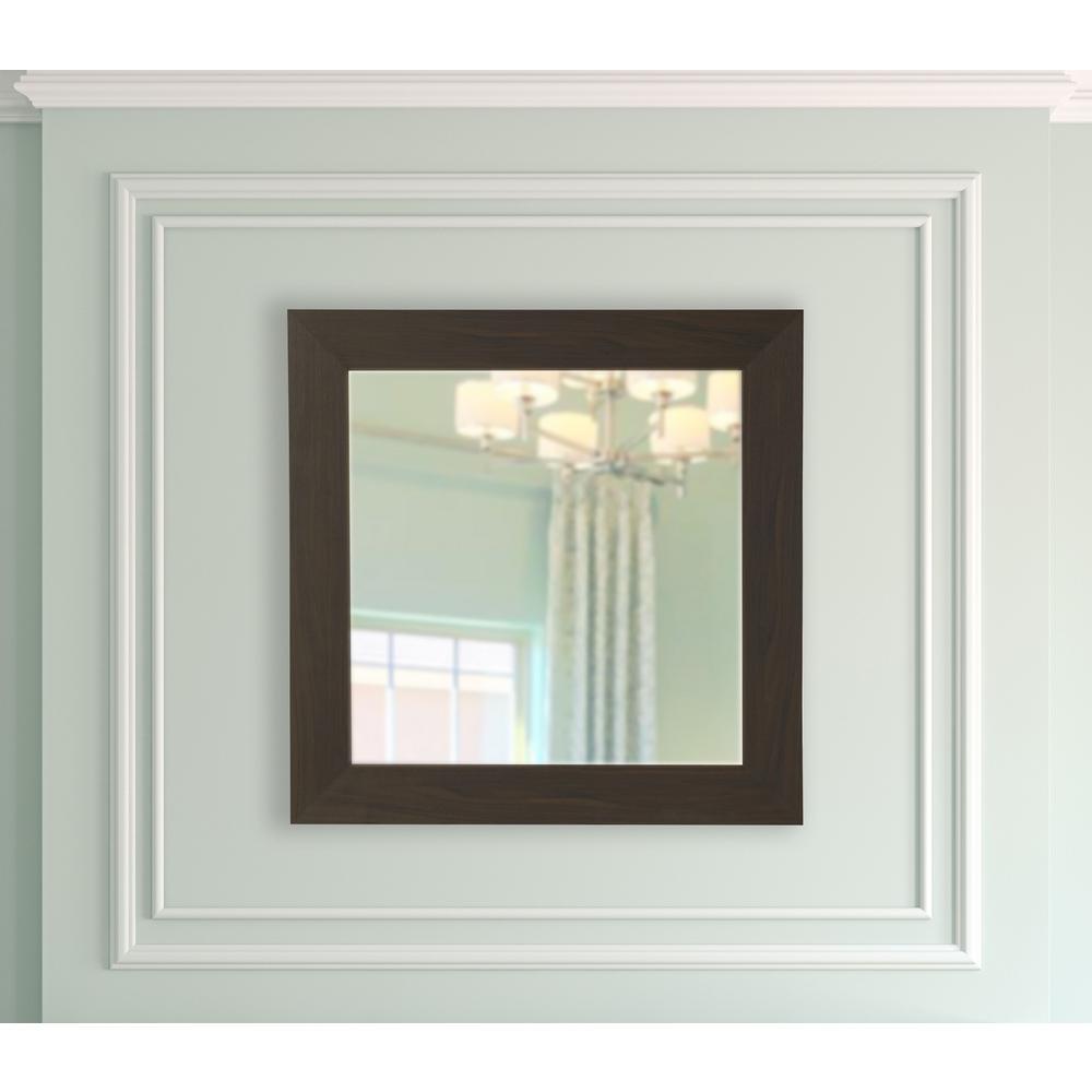 29.5 in. x 29.5 in. Black Walnut Square Vanity Mirror S068M
