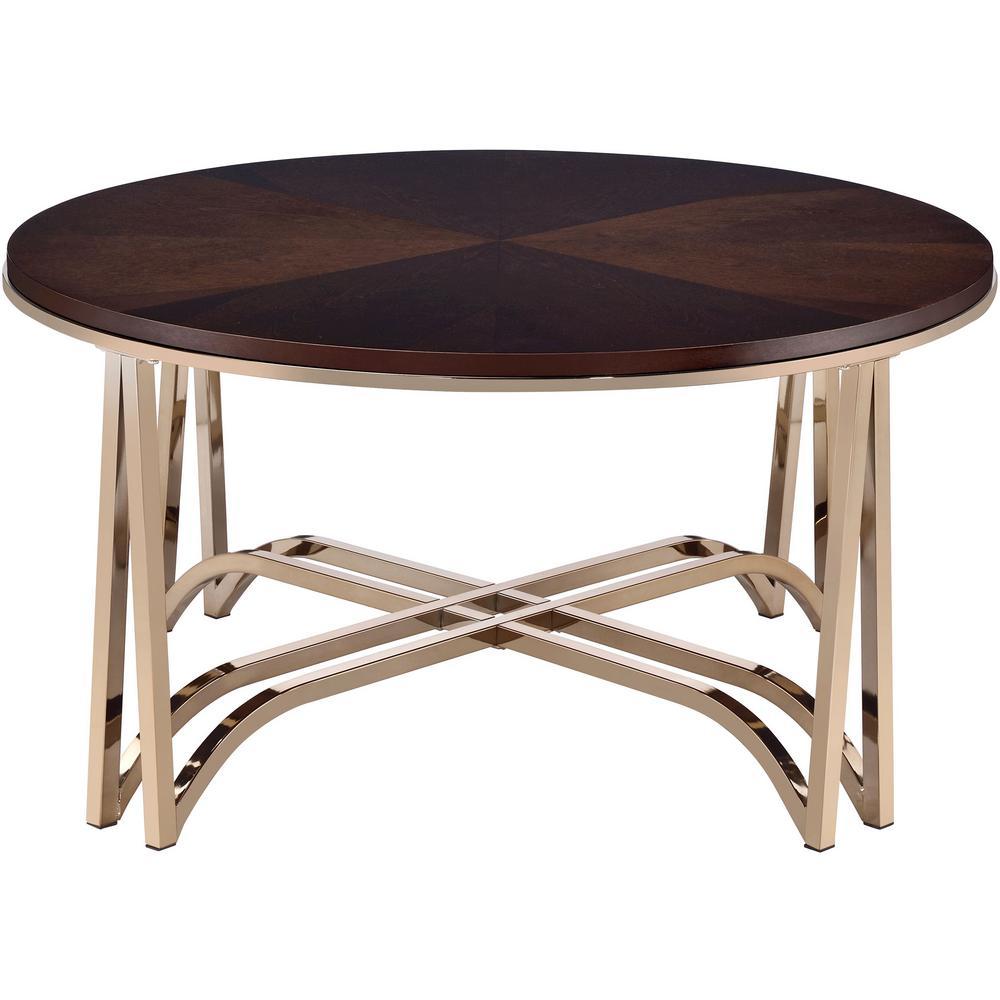 Novus Gold with Walnut Coffee Table