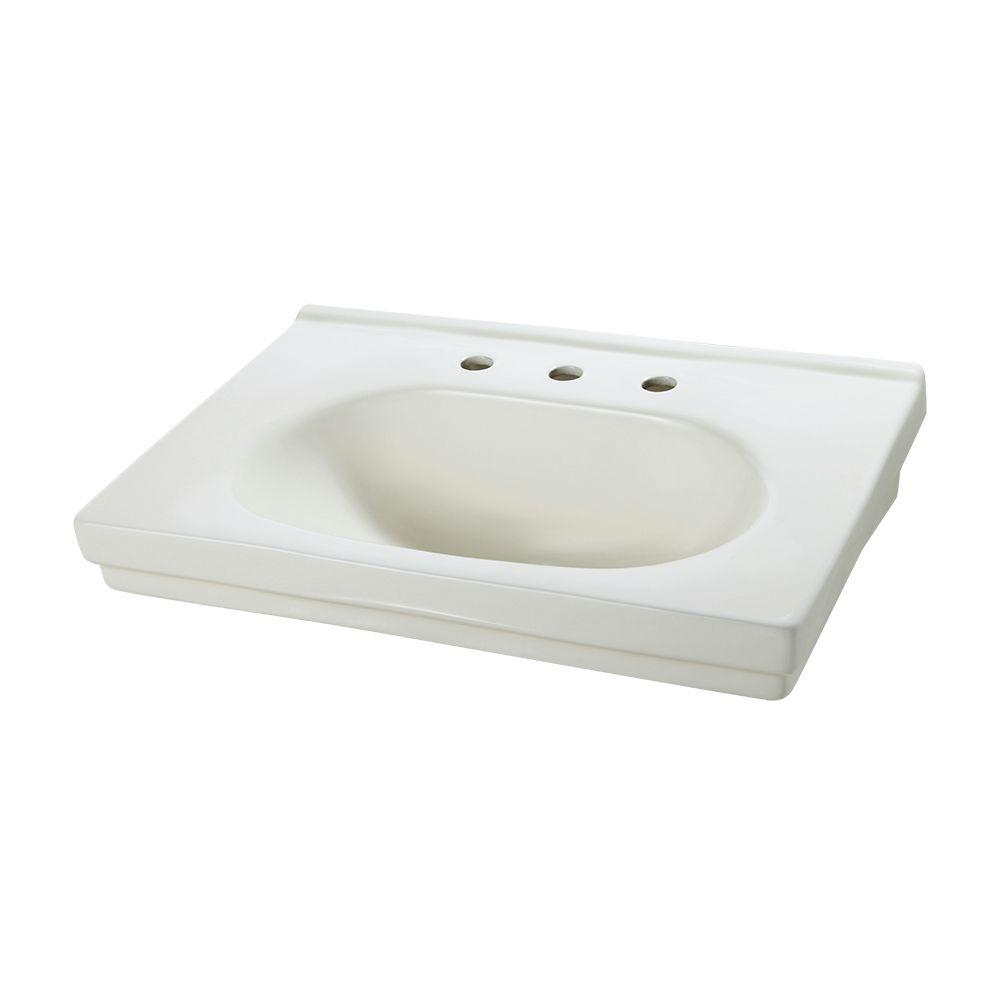 Structure 9-5/8 in. Pedestal Sink Basin in Biscuit