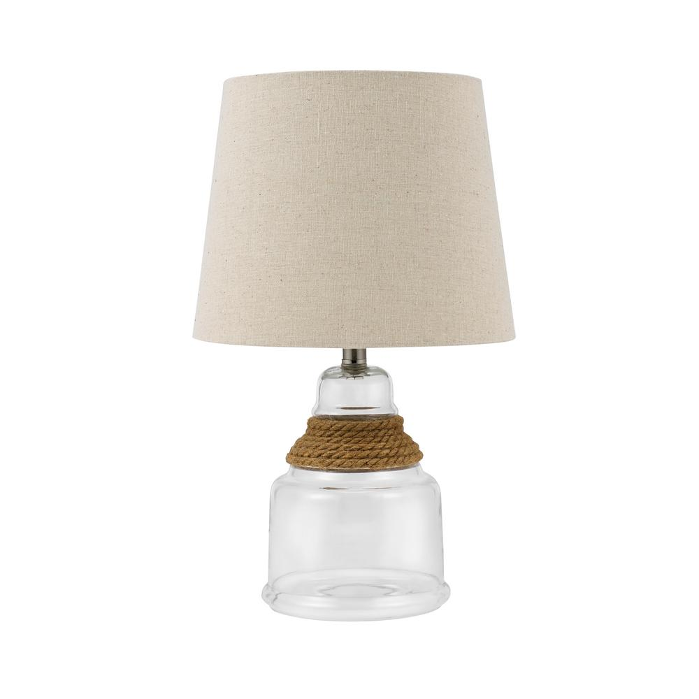 Catalina Lighting 16.25 In. Clear Glass Rope Accent Lamp With Linen Shade  And LED Bulb