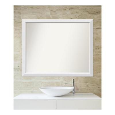 Medium Rectangle White Modern Mirror (34 in. H x 42 in. W)