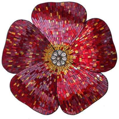 Red Mosaic Glass Flower Wall Decal