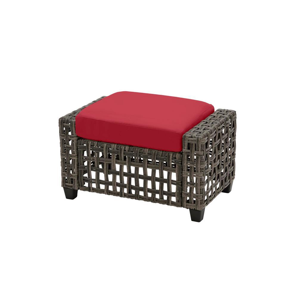 Briar Ridge Brown Wicker Outdoor Patio Ottoman with CushionGuard Chili Red Cushions