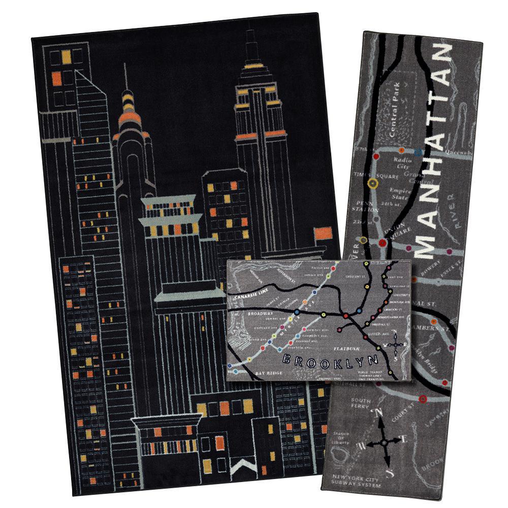 New York City Black 5 ft. x 8 ft. 3-Piece Rug Set