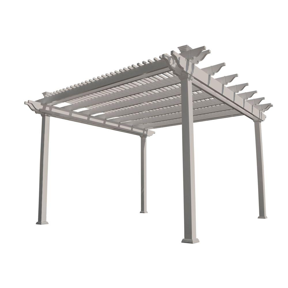 Weatherables largo 12 ft x 12 ft tan double beam vinyl pergola ytpg hdb5 12x12 the home depot - Build rectangular gazebo guide models ...