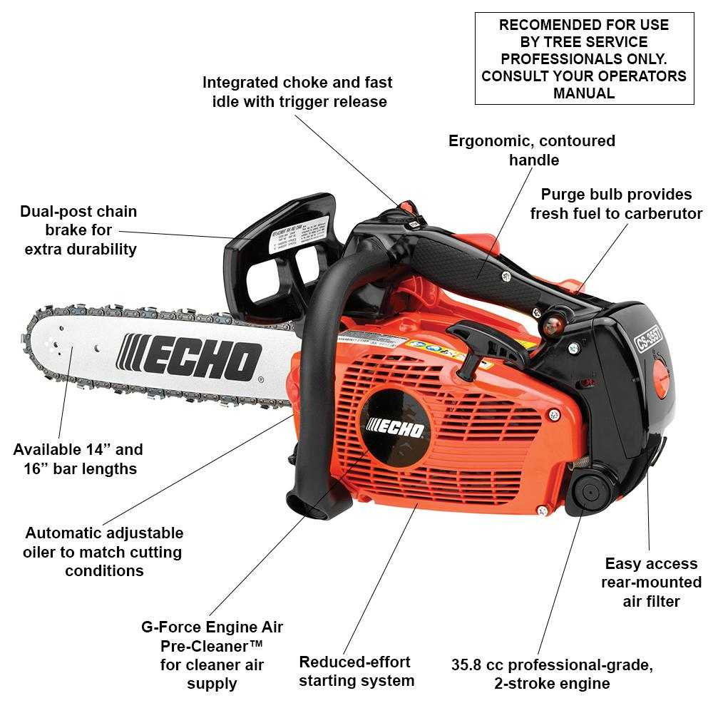 Echo Chainsaw Gas Automatic Purge Bulb Lightweight 2 Stroke Cycle 30.5cc 14 in.