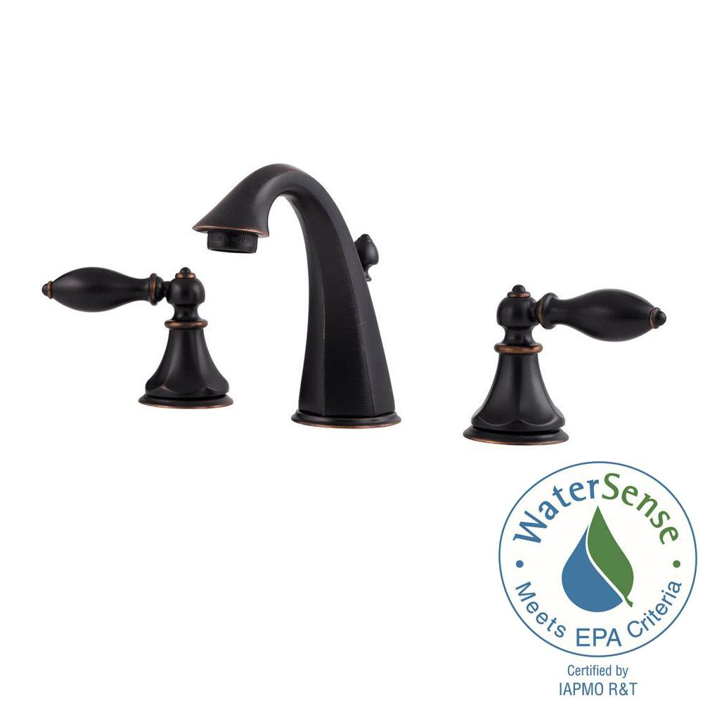 Pfister Catalina In Widespread Handle Bathroom Faucet In Tuscan - Aged bronze bathroom faucet