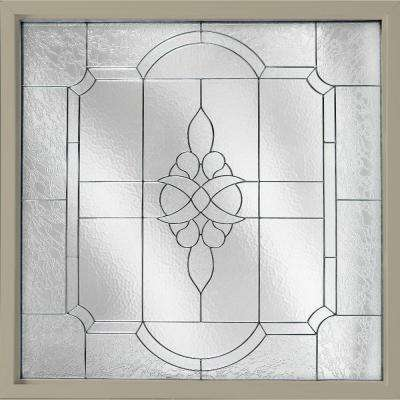 47.5 in. x 47.5 in. Decorative Glass Fixed Vinyl Windows Victorian Glass, Nickel Caming - Tan