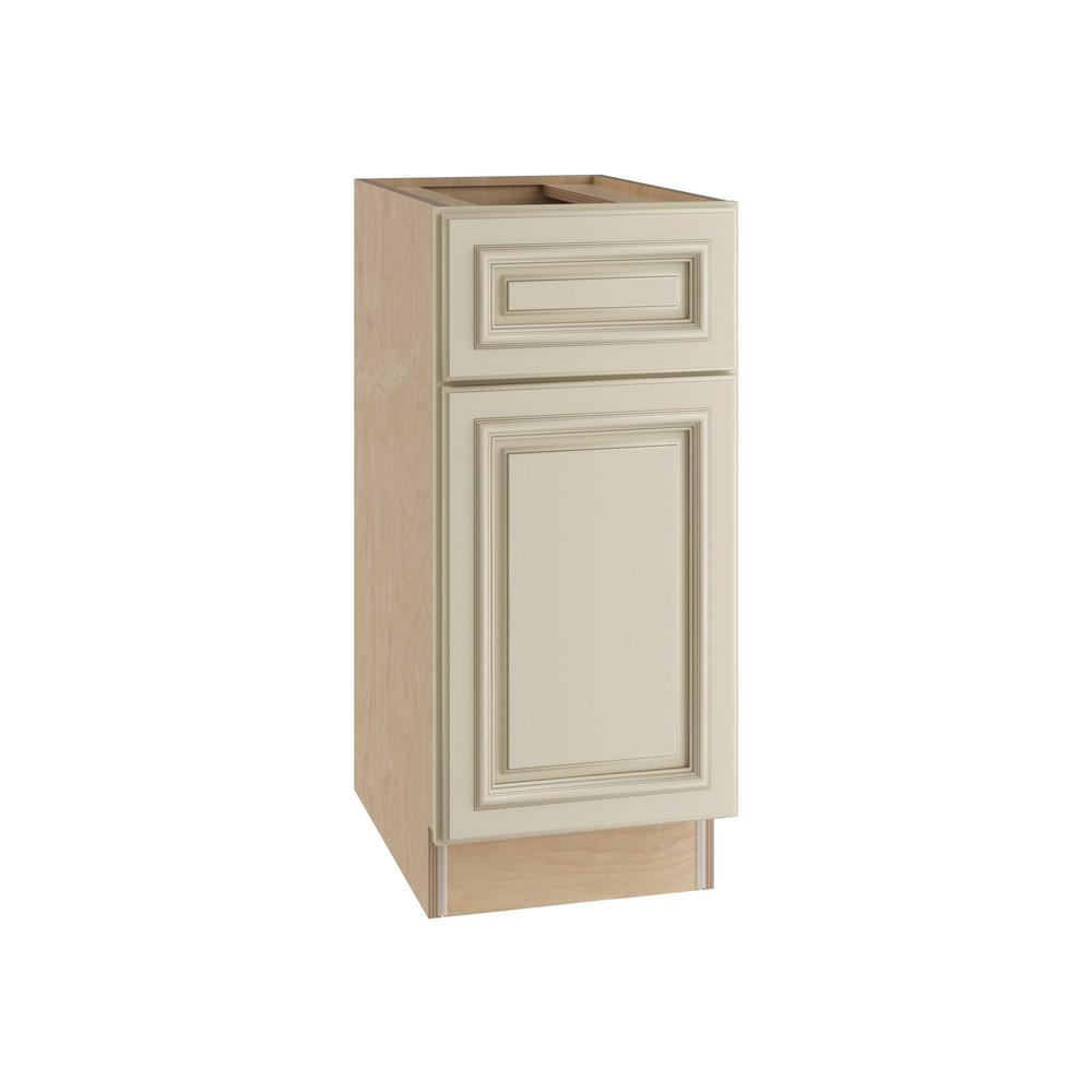Home Decorators Collection Holden Assembled 12x34.5x24 in. Single Door, Drawer & Rollout Tray Hinge Left Base Kitchen Cabinet in Bronze Glaze