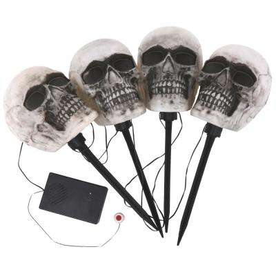 14-1/2 in. Blow Molded Skull Pathway Markers with LED Illumination (4-Set)