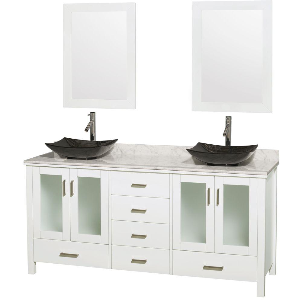 Wyndham Collection Lucy 72 in. Double Vanity in White with Marble Vanity Top in Carrara White, Black Granite Sinks and 24 in. Mirrors