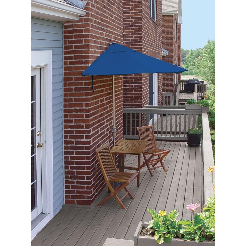 Terrace Mates Villa Deluxe 5-Piece Patio Bistro Set with 7.5 ft. Blue Olefin Half-Umbrella
