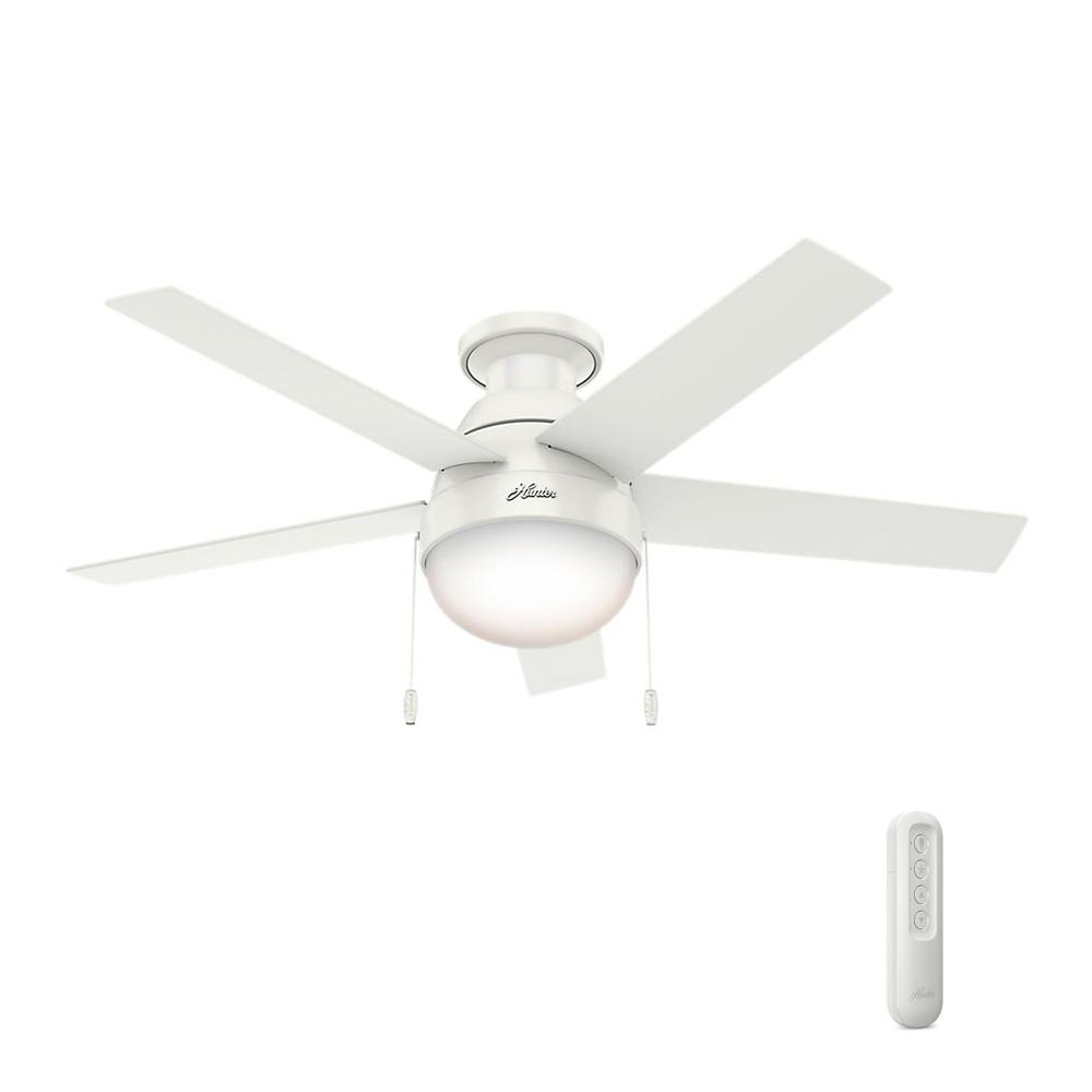 Indoor Low Profile Fresh White Ceiling Fan Bundled With Handheld Remote