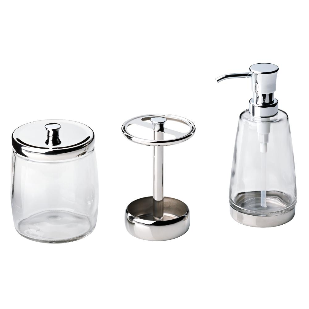 . Delta 3 Piece Bathroom Countertop Accessory Kit with Soap Pump  Toothbrush  Holder and Canister in Polished Chrome