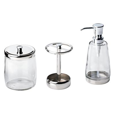 3-Piece Bathroom Countertop Accessory Kit with Soap Pump, Toothbrush Holder and Canister in Polished Chrome