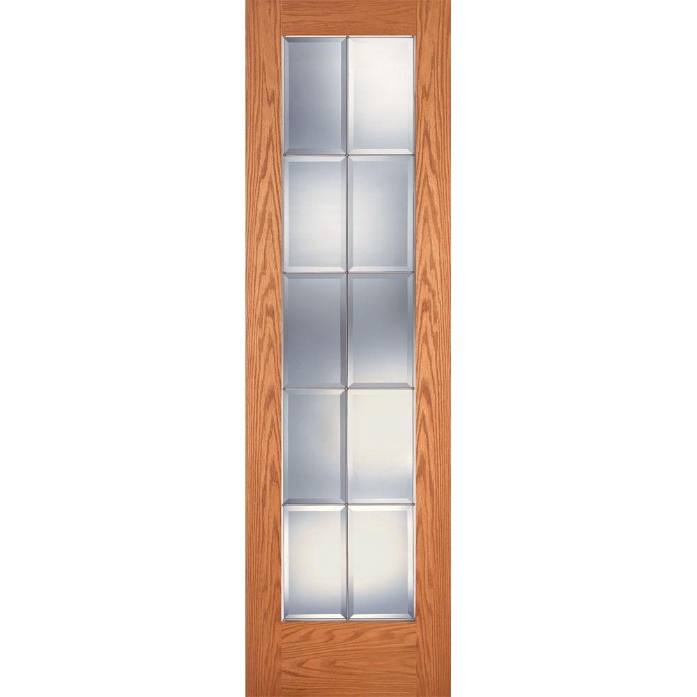 Feather River Doors 24 in. x 80 in. 10 Lite Unfinished Oak Clear Bevel Zinc Woodgrain Interior Door Slab