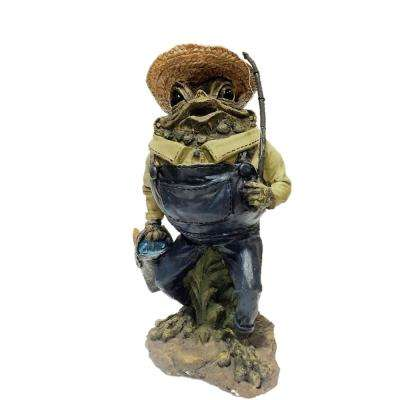13 in. Fisherman Toad Collectible Home and Garden Frog Statue
