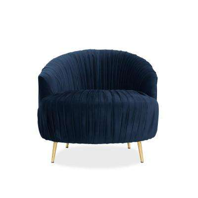 Juliette Contemporary Ruched Barrel Chair in Navy Blue Velvet