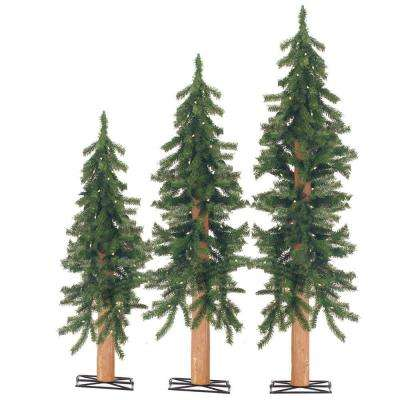 2 ft., 3 ft. and 4 ft. Pre-Lit Alpine Artificial Christmas Tree with Wooden Trunk (Set of 3)
